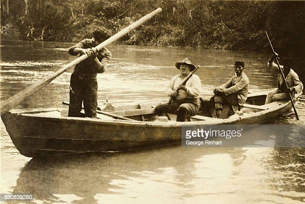 Theodore Roosevelt in a canoe on the Amazon River
