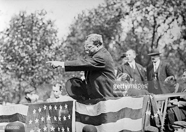Theodore Roosevelt in a typical oratorial gesture addressing a campaign rally Ca 1900s