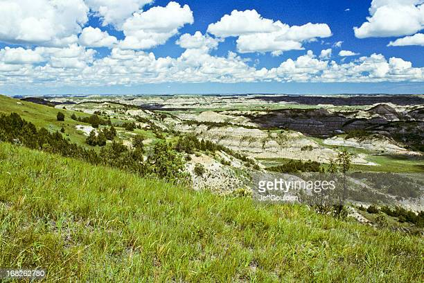 badland canyon, meadow and cloud formation - jeff goulden stock pictures, royalty-free photos & images
