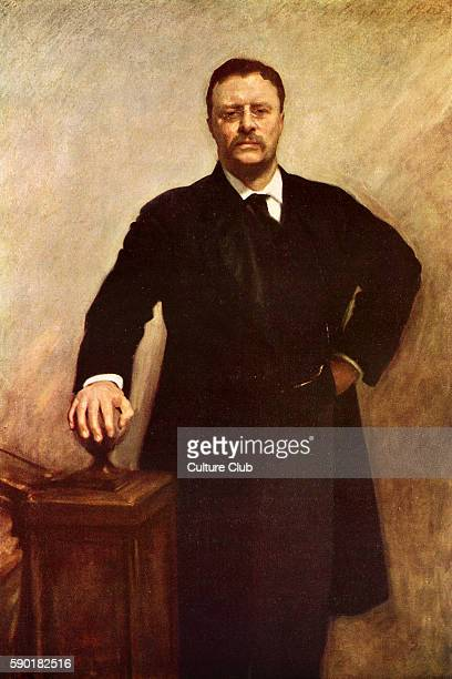 Theodore Roosevelt, portrait. 26th President of the United States, 27 October 1858 Ð 6 January 1919. After the oil painting by John Singer Sargent .