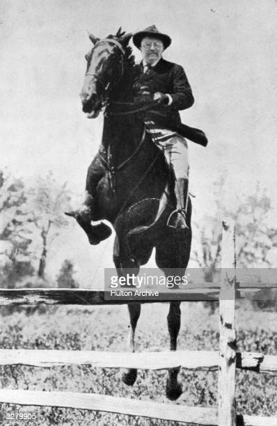 Theodore Roosevelt the 26th President of the United States jumping hurdles at the Chevy Chase club Washington