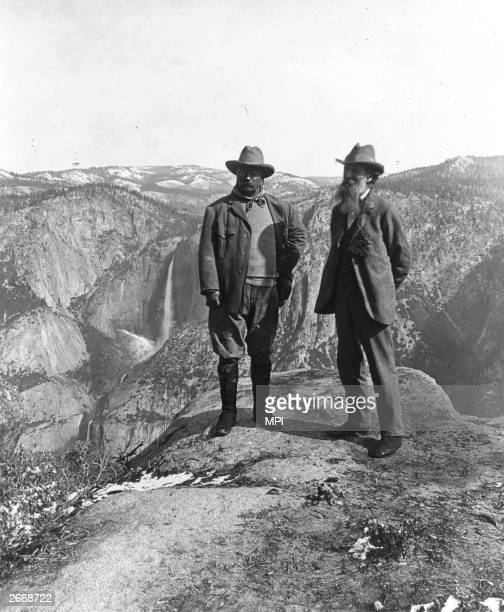 Theodore Roosevelt the twentysixth President of the United States with the Scottish born American conservationist John Muir on Glacier Point in...