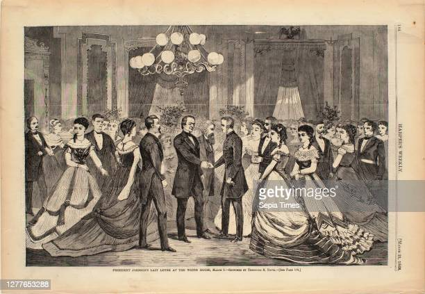 Theodore Russell Davis, American, 1840–1894, President Johnson's Last Levee at the White House, March 2 Wood engraving on paper, image: 9 1/8 x 13...
