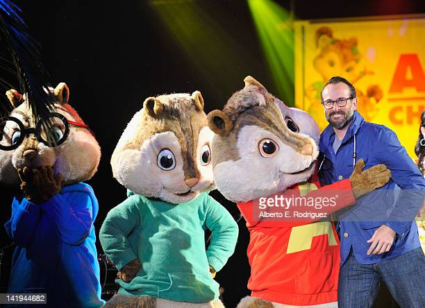 Theodore Simon Alvin and actor Jason Lee attend Twentieth Century Fox Home Entertainment's Alvin and the Chipmunks Chipwrecked Bluray and DVD release...