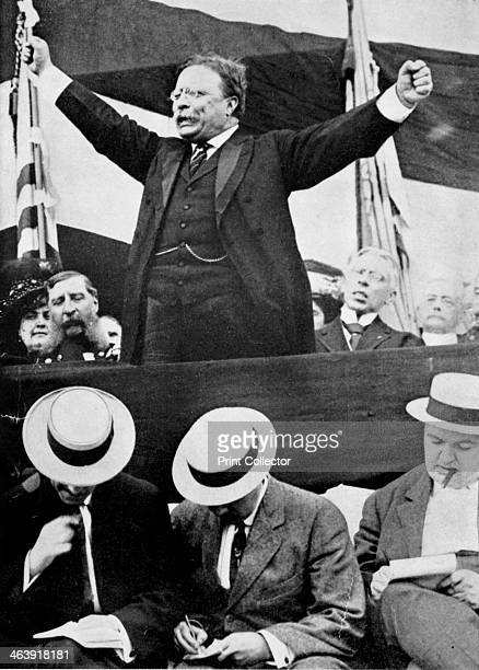 Theodore 'Teddy' Roosevelt, American President, 1901-1909. Roosevelt making a speech. In the foreground, reporters are making notes. He became a war...