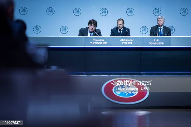 Theodore Theodoridis UEFA General Secretary and UEFA President Aleksander Ceferin attend the press conference during the 44th UEFA Congress at Beur...