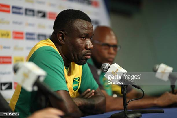 Theodore Whitmore head coach of Jamaica speaks during the Jamaica National Team Press Conference at Rose Bowl Stadium on July 22 2017 in Pasadena...