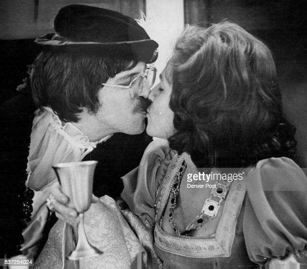 Theodoric AP Breken Beaken Gives Wedding Kiss to Lady Judith De Beaumont Ted Peak is Theodorie and Judith Brownlee is Judith in recreation of Middle...