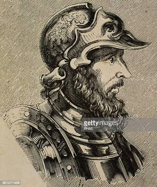 Theodoric I Visigothic king Walia successor Portrait Engraving
