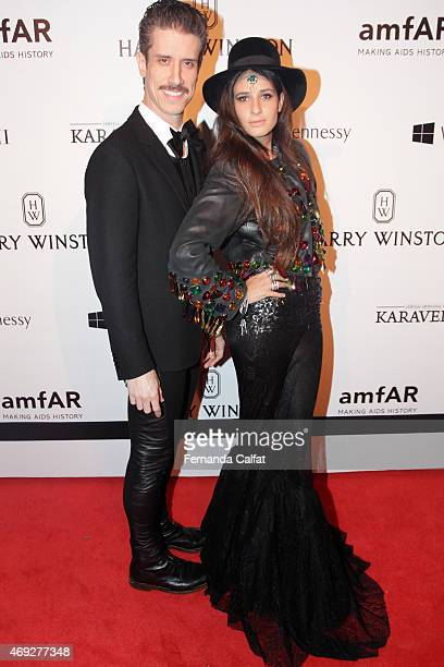 Theodoro Cochrane and Concepcion Cochrane attend the 5th Annual amfAR Inspiration Gala at the home of Dinho Diniz on April 10 2015 in Sao Paulo Brazil