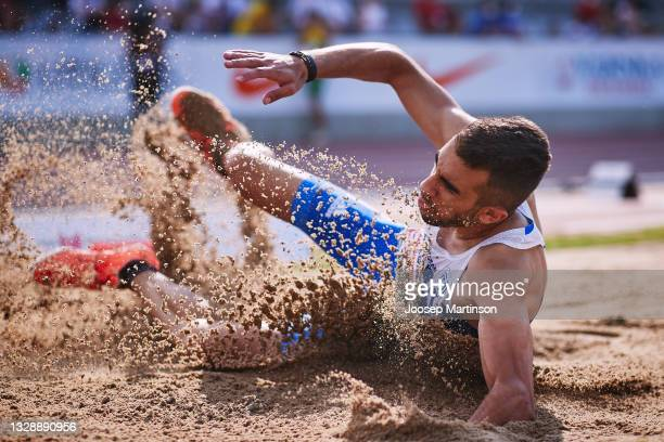 Theodoros Skouros of Greece competes in the Men's Long Jump qualification during European Athletics U20 Championships Day 1 at Kadriorg Stadium on...
