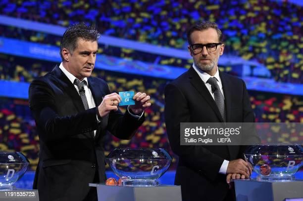Theodoros Zagorakis and Karel Poborsky attend the UEFA Euro 2020 Final Draw Ceremony on November 30, 2019 in Bucharest, Romania.