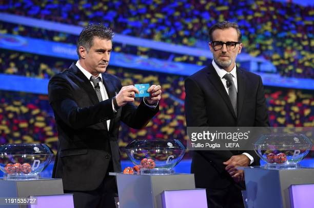 Theodoros Zagorakis and Karel Poborsky attend the UEFA Euro 2020 Final Draw Ceremony on November 30 2019 in Bucharest Romania
