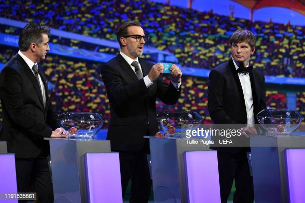 Theodoros Zagorakis Karel Poborsky and Andrey Arshavin attend the UEFA Euro 2020 Final Draw Ceremony on November 30 2019 in Bucharest Romania