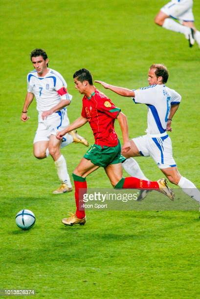 Theodoros Zagorakis of Greece Cristiano Ronaldo of Portugal and Angelis Basinas of Greece during the Euro final match between Portugal and Greece at...