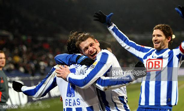 Theofanis Gekas of Berlin celebrates after he scores his team's third goal during the Bundesliga match between Hannover 96 and Hertha BSC Berlin at...