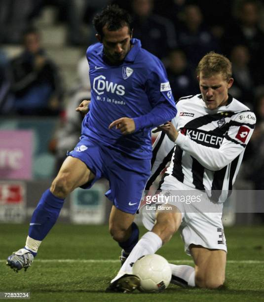 Theofanis Gekas of Bochumin in action with Tobias Levels of Monchengladbach during the Bundesliga match between VFL Bochum and Borussia...