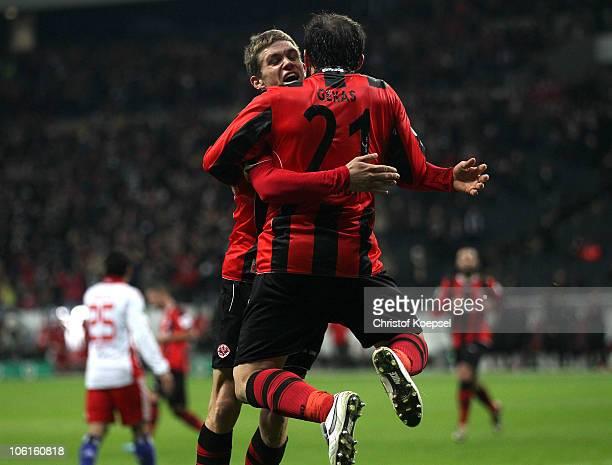 Theofanis Gekas of Frankfurt celebrates the second goal with Sebastian Jung of Frankfurt during the DFB Cup match between Eintracht Frankfurt and...