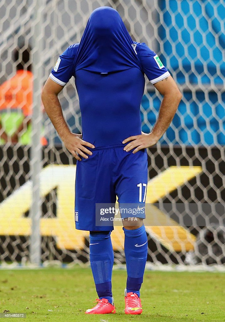 Theofanis Gekas of Greece reacts after his penalty being saved by Keylor Navas of Costa Rica in a penalty shootout during the 2014 FIFA World Cup Brazil Round of 16 match between Costa Rica and Greece at Arena Pernambuco on June 29, 2014 in Recife, Brazil.