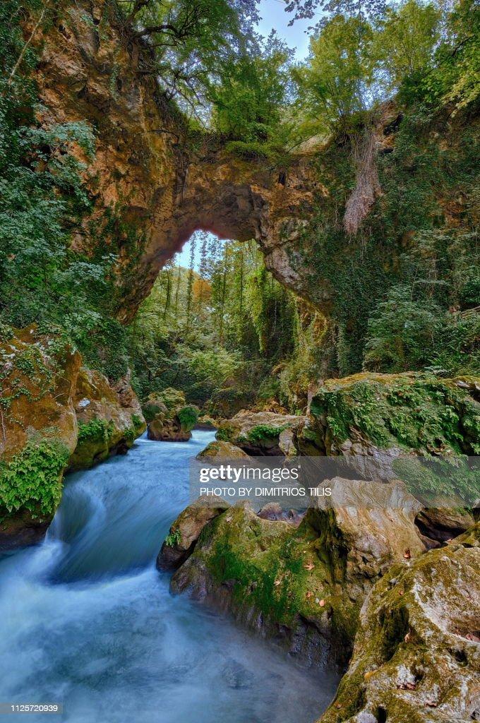 Theogefyro (Bridge made by God) A lost paradise : Stock Photo