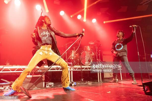 TheOGM and Eaddy of Ho99o9 perform on stage at Barrowland Ballroom on February 13, 2020 in Glasgow, Scotland.