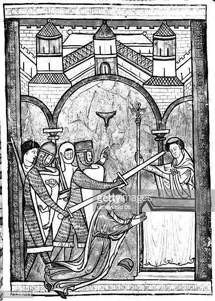 Theologe Erzbischof Politiker England Kirchenheiliger Ermordung von Thomas Becket in der Katedrale von Canterbury englische Miniatur Ende 12...