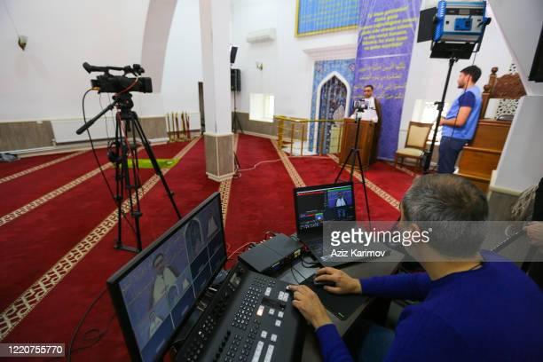Theologian Imamjamaat of the mosque Meshedi Dadash Haji Shahin Hasanli Livestream in Facebook for Muslim community to pray from home Baku Azerbaijan...