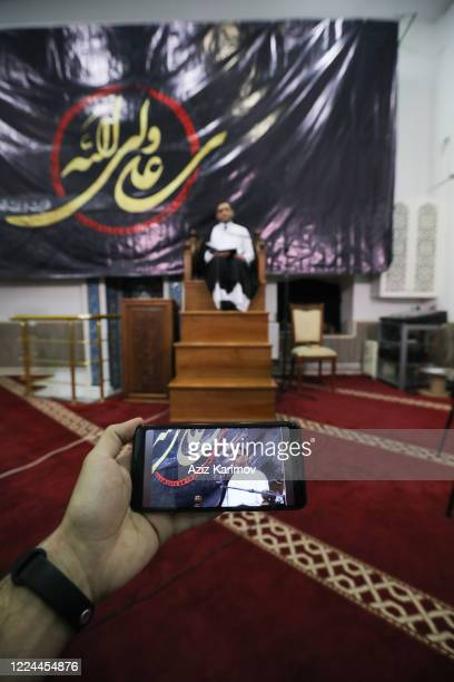 Theologian Imamjamaat of the mosque Meshedi Dadash Haji Shahin Hasanli Livestream in Facebook for Muslim community to pray from home during Lailat...