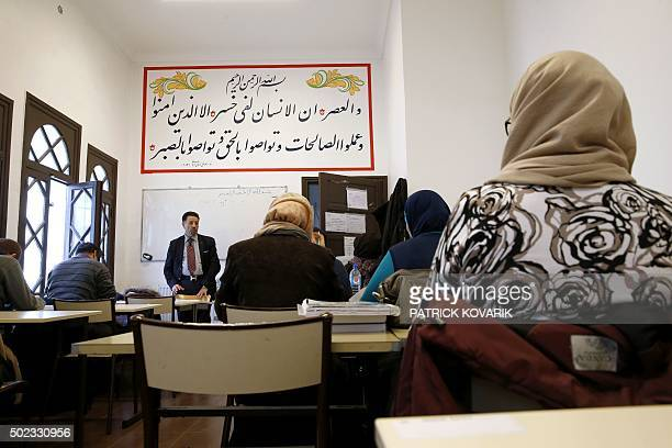 Theology professor Missoum Chaoui gives a training class for futur imams and clerics at the AlGhazali institute of the Grand Mosque of Paris on...