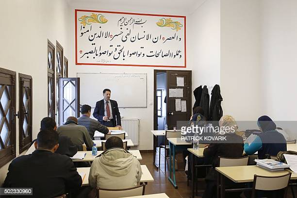 Theology professor Missoum Chaoui gives a training class for future imams and clerics at the AlGhazali institute of the Grand Mosque of Paris on...
