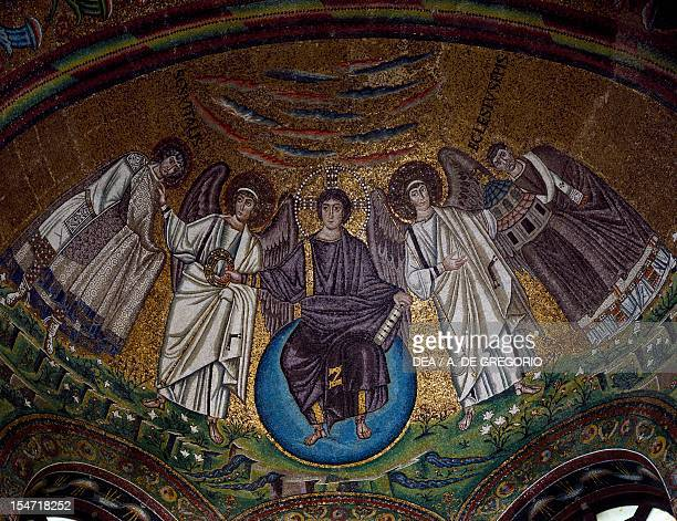 Theophany with Christ as the Redeemer San Vitale Bishop Ecclesius and two archangels mosaic apse Basilica of San Vitale Ravenna EmiliaRomagna Italy...