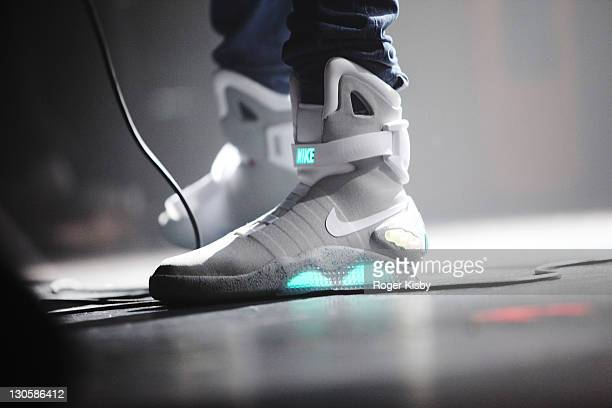 Theophilus London wears Nike MAG Back to the Future sneakers during his performance onstage at Terminal 5 on October 26 2011 in New York City