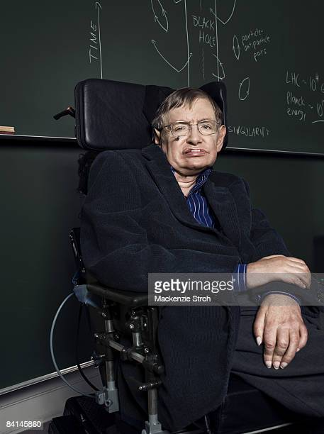 Theoretical physicist and author Stephen Hawking poses for a portrait session for Discover Magazine. Published image.