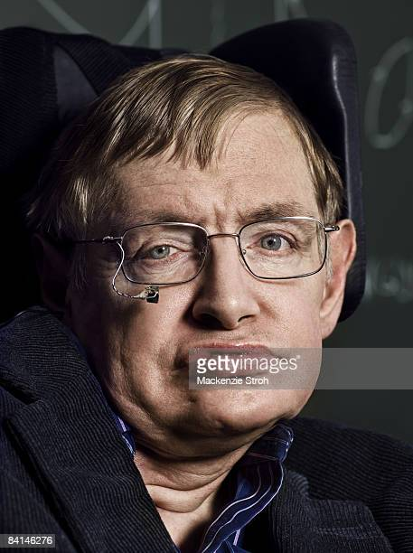 Theoretical physicist and author Stephen Hawking poses for a portrait session for Discover Magazine