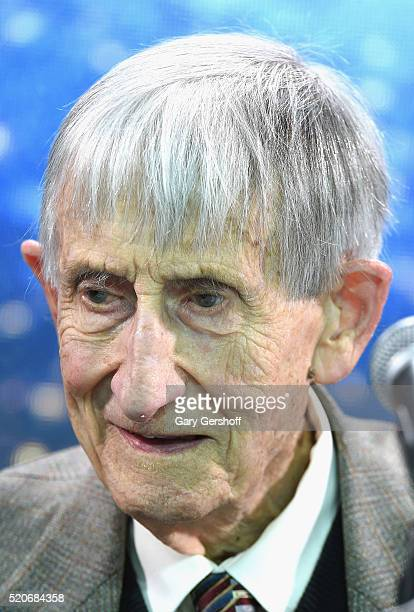 Theoretical physicist and mathematician Freeman Dyson attends the New Space Exploration Initiative Breakthrough Starshot Announcement at One World...
