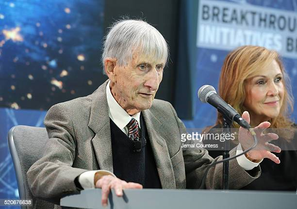 Theoretical physicist and Mathematician Freeman Dyson speaks during the New Space Exploration Initiative Breakthrough Starshot Announcement at One...