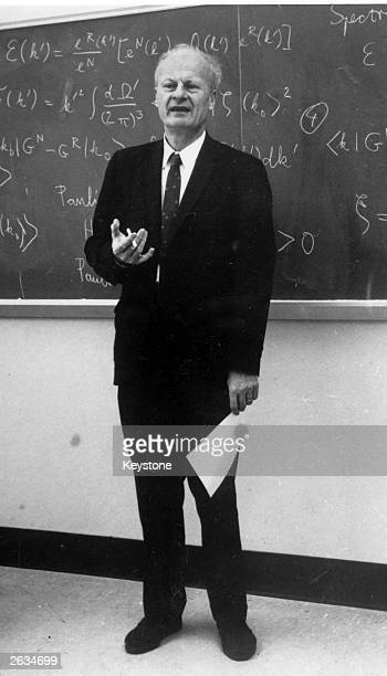 Theoretical physicist Hans Albrecht Bethe giving a lecture