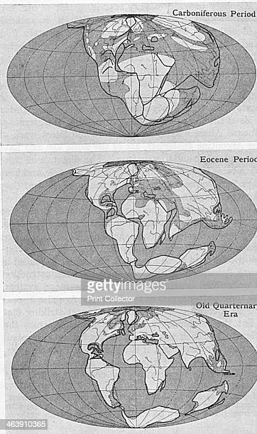 Theory of Continental Drift 1922 Diagram from an article by Alfred Wegener on his theory of Continental Drift published in Discovery London 1922...