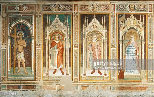 Theory of Saints, fresco by Paolo Uccello , San Miniato al Monte , Florence. Italy, 15th century.