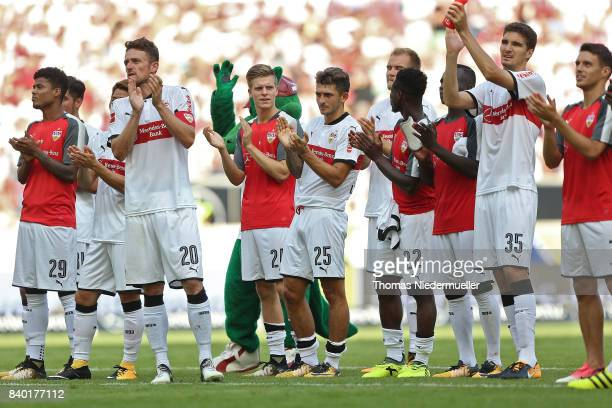 Ther team of Stuttgart celebrates after the Bundesliga match between VfB Stuttgart and 1 FSV Mainz 05 at MercedesBenz Arena on August 26 2017 in...