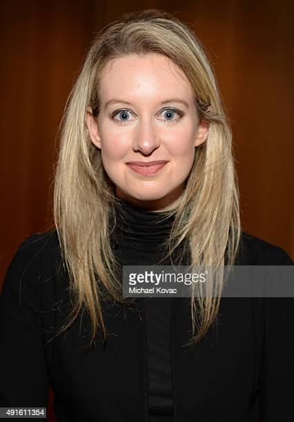 Theranos Founder and CEO Elizabeth Holmes attends the Vanity Fair New Establishment Summit cocktail party at The Ferry Building on October 6 2015 in...
