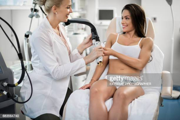 Therapist with customer
