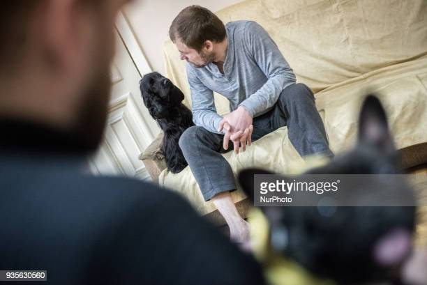 Therapy dog session for ATO soldiers with posttraumatic stress disorder in the Center for Medical and Psychological Rehabilitation of Participants in...