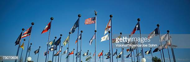 'There are 50 State Flags waving in the wind on flagpoles equal distant apart against a blue sky, with the American flag in the center. These are located at Sea World.'