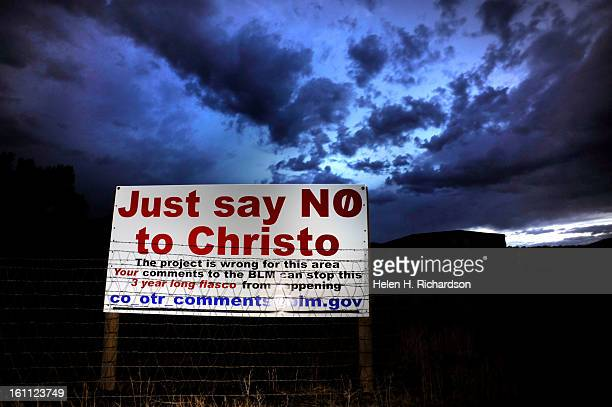 There are many opponents and supporters of artist Christo's proposed Over The River project A sign that passersby said was put up today August 18th...