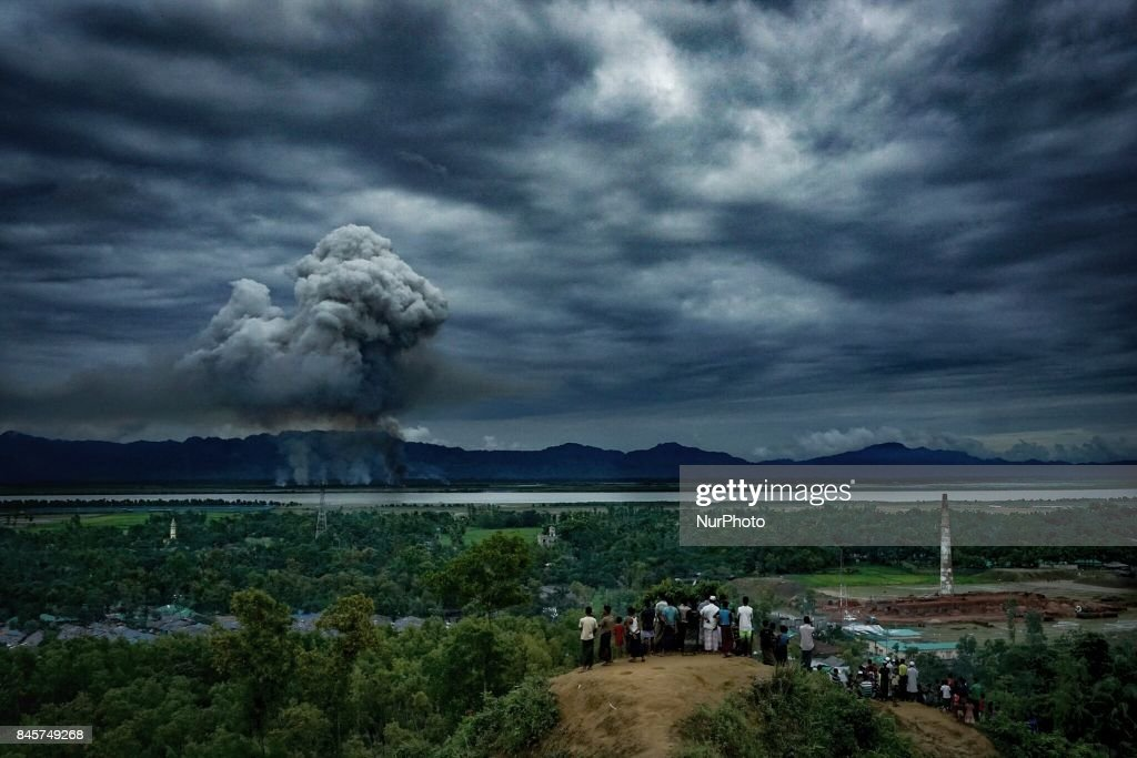 Houses of Rohingyas are burning in Myanmar : News Photo