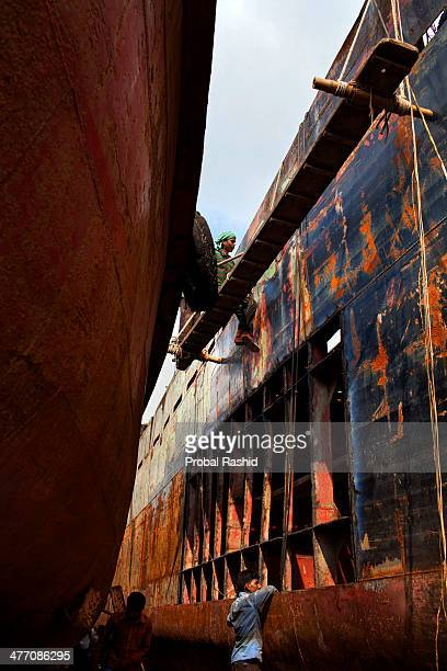 KERANIGANJ DHAKA BANGLADESH There are more than 35 shipyards in Old Dhakas Keraniganj area by the side of the Buriganga River where ships launches...