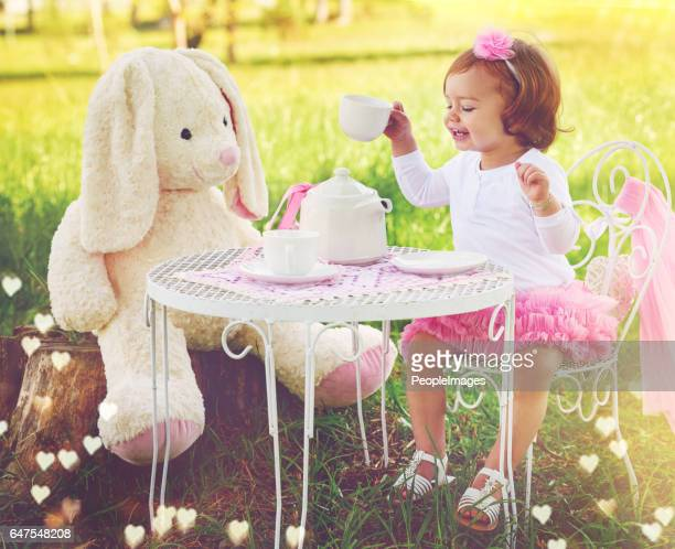 there are no limits to her imagination - tea party stock pictures, royalty-free photos & images