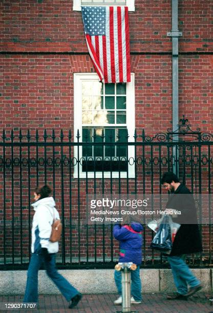 There are not many flags to be found in Harvard Yard but there was one flying from a window in Wigglesworth Hall today.