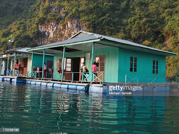 There are numerous floating homes scattered around Halong Bay used by fishing families. These villages include schools and floating markets used by...
